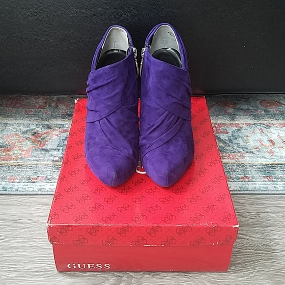 Guess Shoes - Guess Purple suede heeled ankle booties. Size 6.